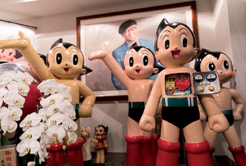 Tezuka Osamu and Mighty Atom at the Tezuka Productions office in Saitama.